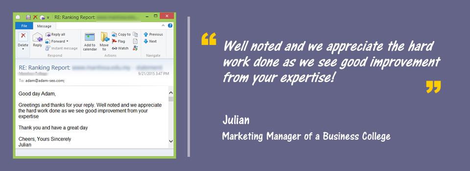 testimonials from julian
